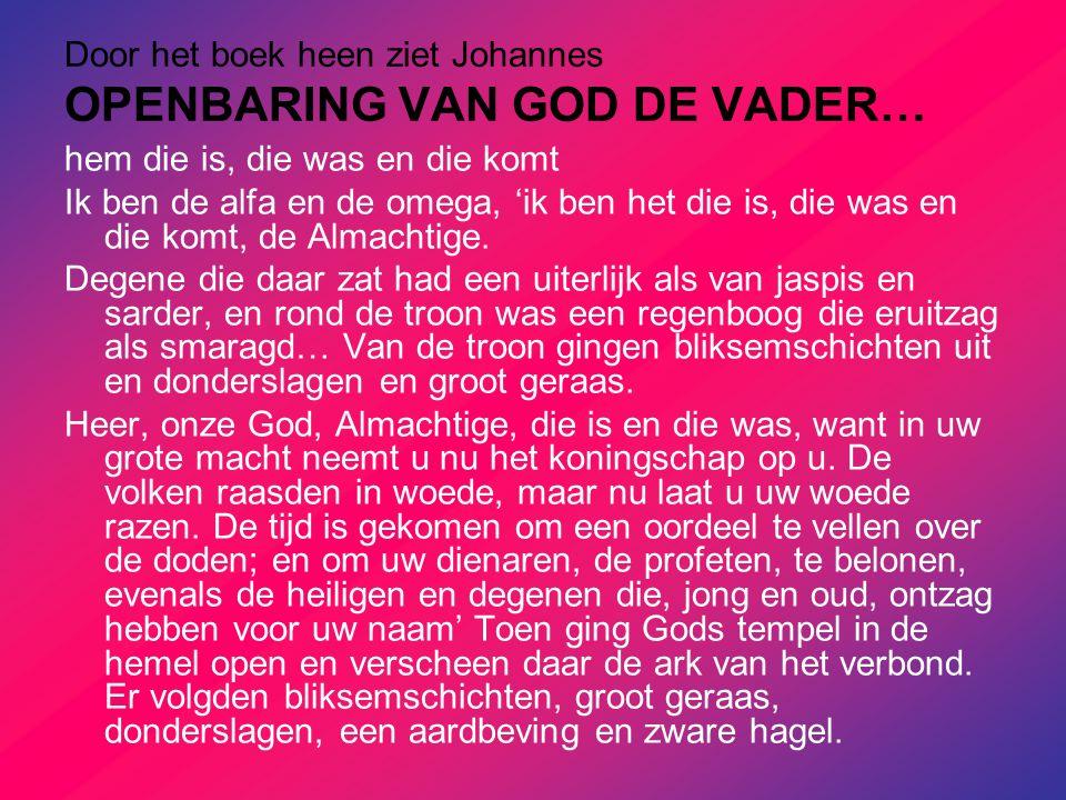 Door het boek heen ziet Johannes OPENBARING VAN GOD DE VADER…