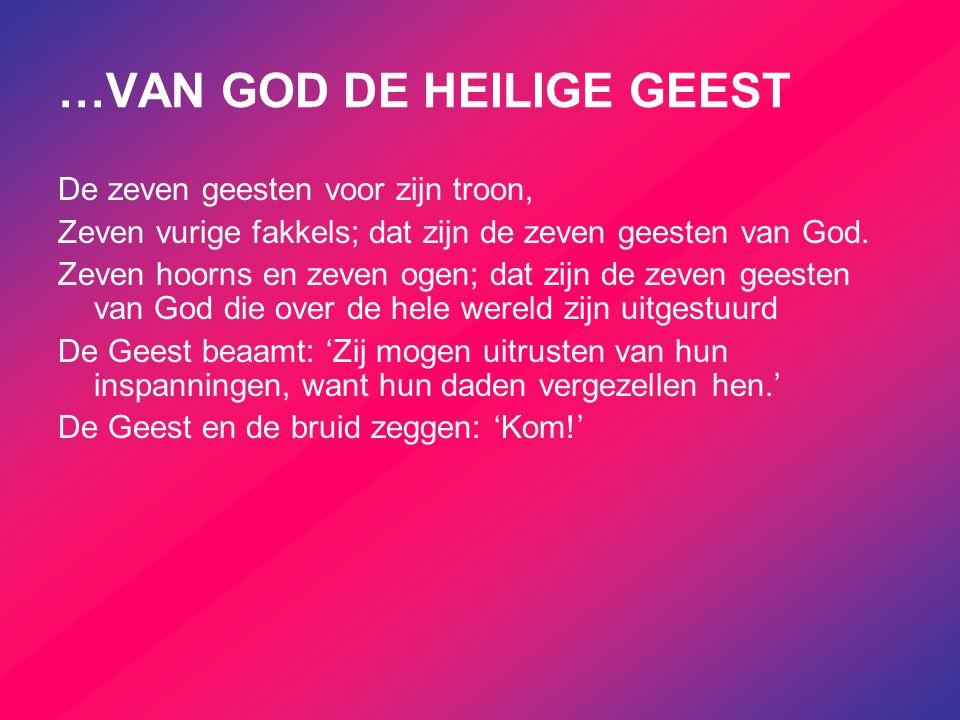 …VAN GOD DE HEILIGE GEEST