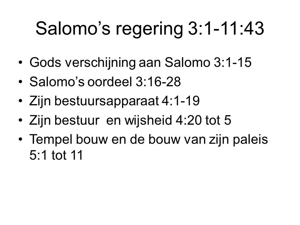 Salomo's regering 3:1-11:43 Gods verschijning aan Salomo 3:1-15