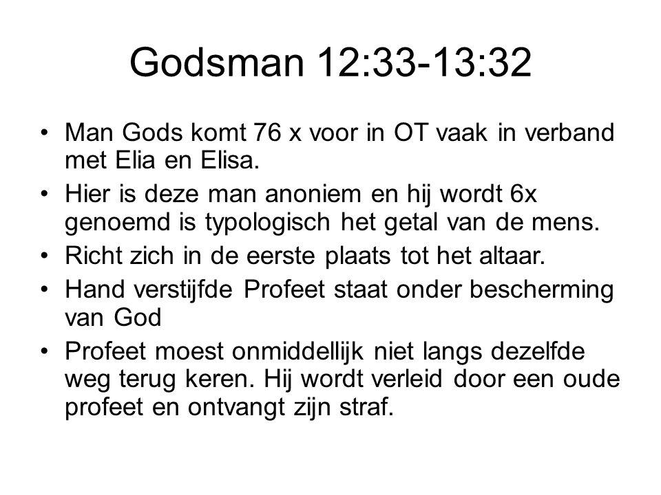 Godsman 12:33-13:32 Man Gods komt 76 x voor in OT vaak in verband met Elia en Elisa.
