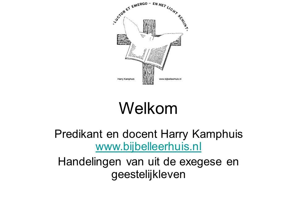 Welkom Predikant en docent Harry Kamphuis www.bijbelleerhuis.nl