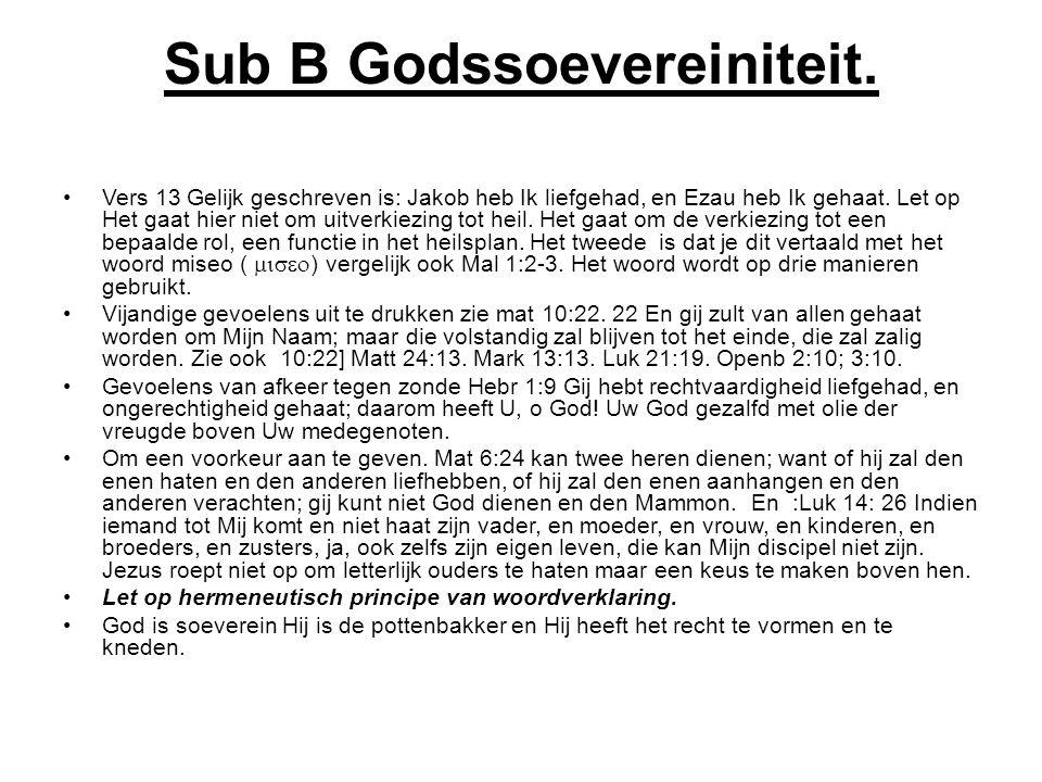 Sub B Godssoevereiniteit.