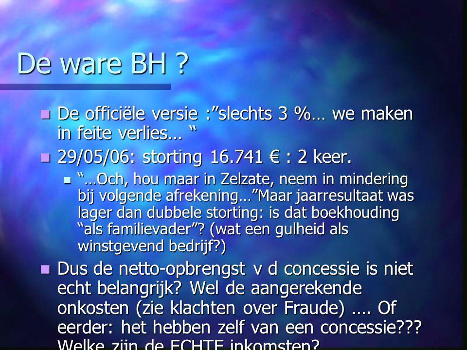 De ware BH De officiële versie : slechts 3 %… we maken in feite verlies… 29/05/06: storting 16.741 € : 2 keer.