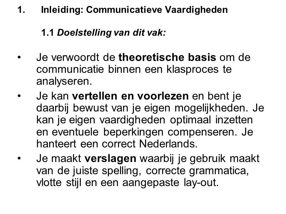 Inleiding: Communicatieve Vaardigheden 1.1 Doelstelling van dit vak: