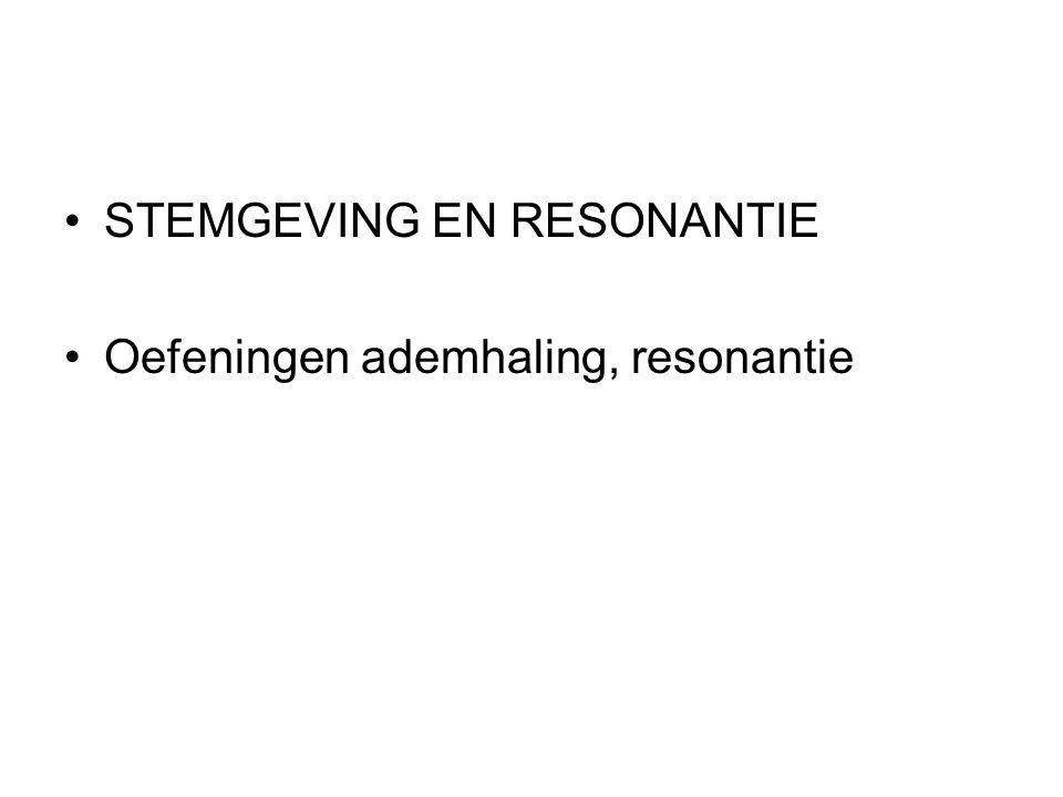 STEMGEVING EN RESONANTIE