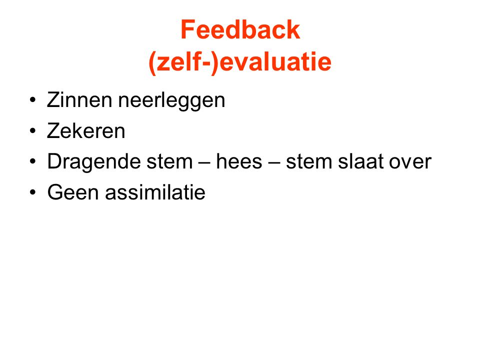 Feedback (zelf-)evaluatie