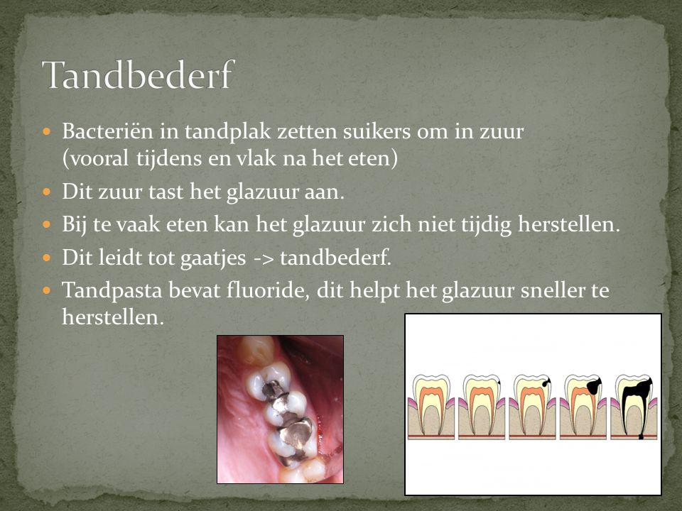 Tandbederf Bacteriën in tandplak zetten suikers om in zuur (vooral tijdens en vlak na het eten) Dit zuur tast het glazuur aan.