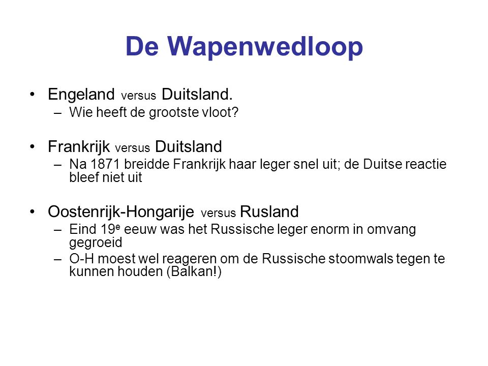 De Wapenwedloop Engeland versus Duitsland. Frankrijk versus Duitsland