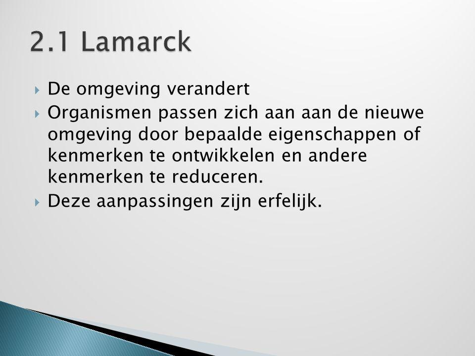 2.1 Lamarck De omgeving verandert