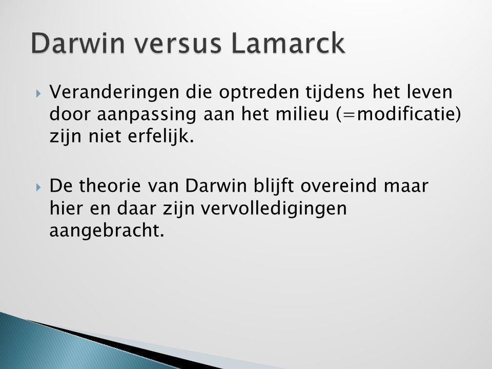 Darwin versus Lamarck Veranderingen die optreden tijdens het leven door aanpassing aan het milieu (=modificatie) zijn niet erfelijk.