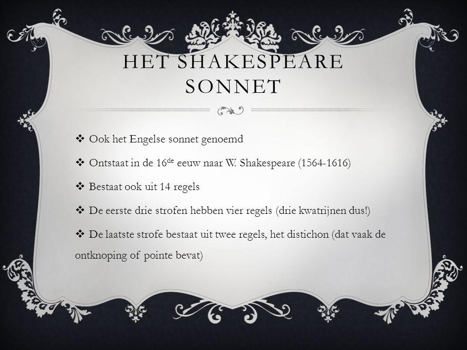 Het Shakespeare sonnet
