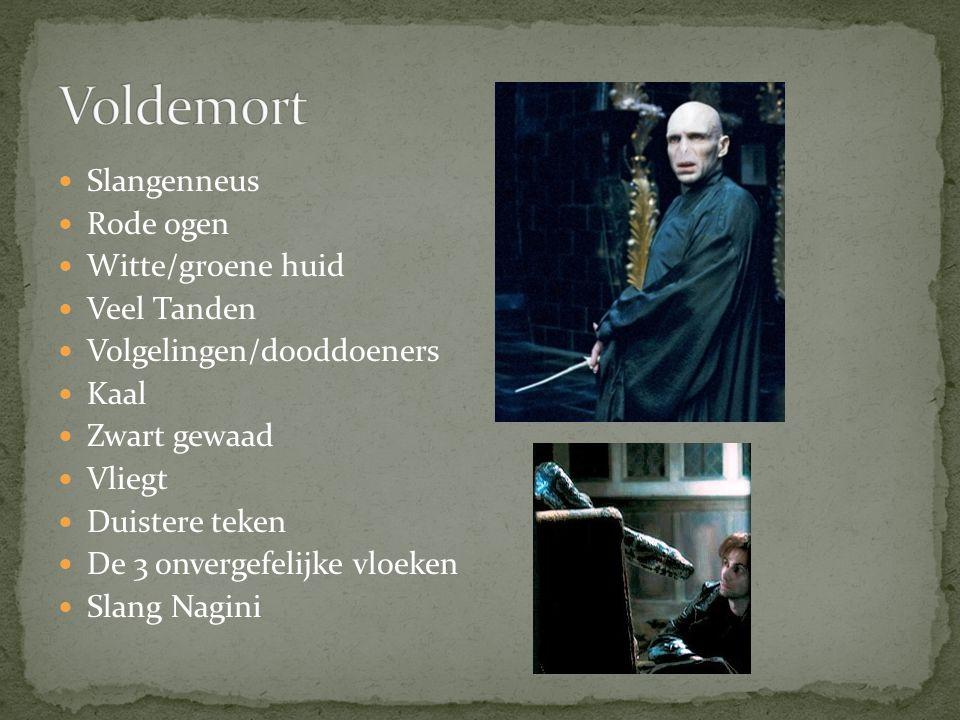 Voldemort Slangenneus Rode ogen Witte/groene huid Veel Tanden