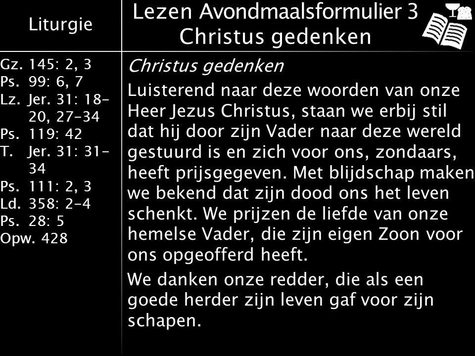 Lezen Avondmaalsformulier 3 Christus gedenken