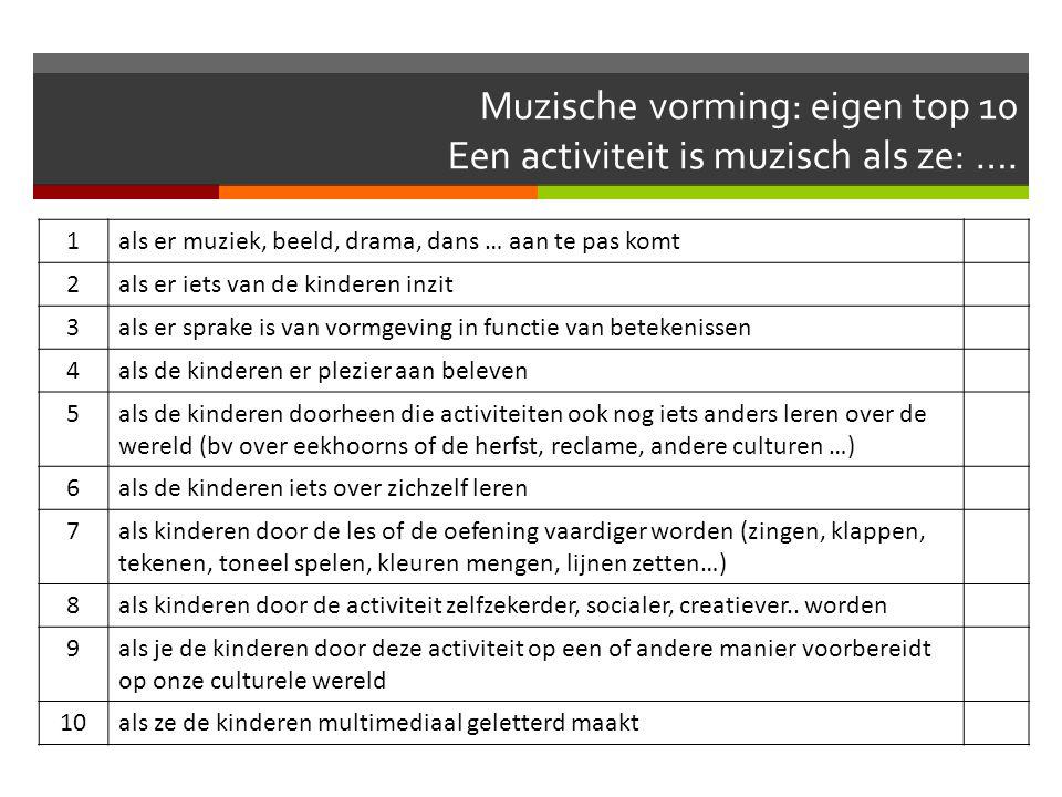 Muzische vorming: eigen top 10 Een activiteit is muzisch als ze: ….