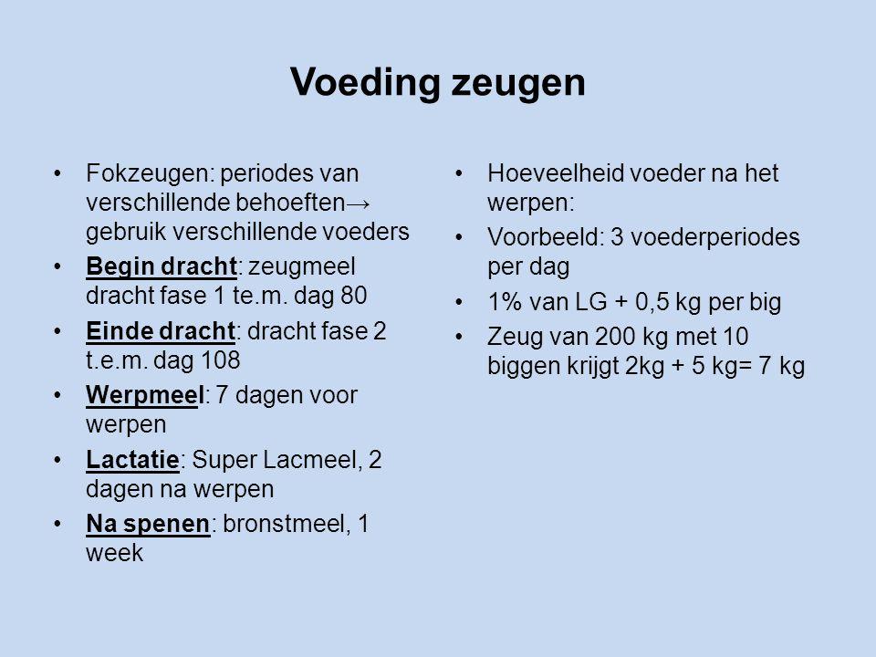 Voeding zeugen Fokzeugen: periodes van verschillende behoeften→ gebruik verschillende voeders. Begin dracht: zeugmeel dracht fase 1 te.m. dag 80.