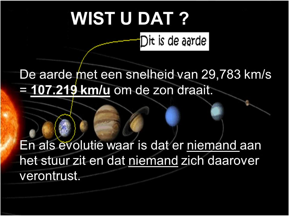 WIST U DAT De aarde met een snelheid van 29,783 km/s = 107.219 km/u om de zon draait.