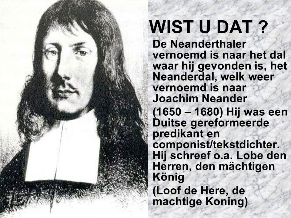 WIST U DAT De Neanderthaler vernoemd is naar het dal waar hij gevonden is, het Neanderdal, welk weer vernoemd is naar Joachim Neander.