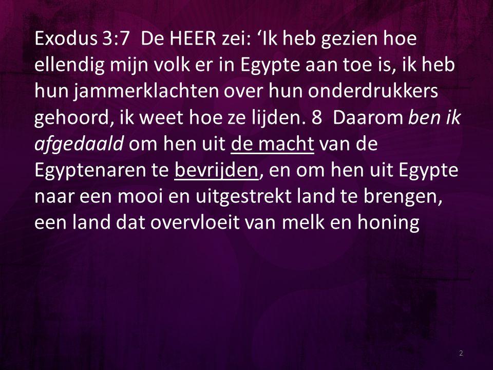 Exodus 3:7 De HEER zei: 'Ik heb gezien hoe ellendig mijn volk er in Egypte aan toe is, ik heb hun jammerklachten over hun onderdrukkers gehoord, ik weet hoe ze lijden. 8 Daarom ben ik afgedaald om hen uit de macht van de Egyptenaren te bevrijden, en om hen uit Egypte naar een mooi en uitgestrekt land te brengen, een land dat overvloeit van melk en honing