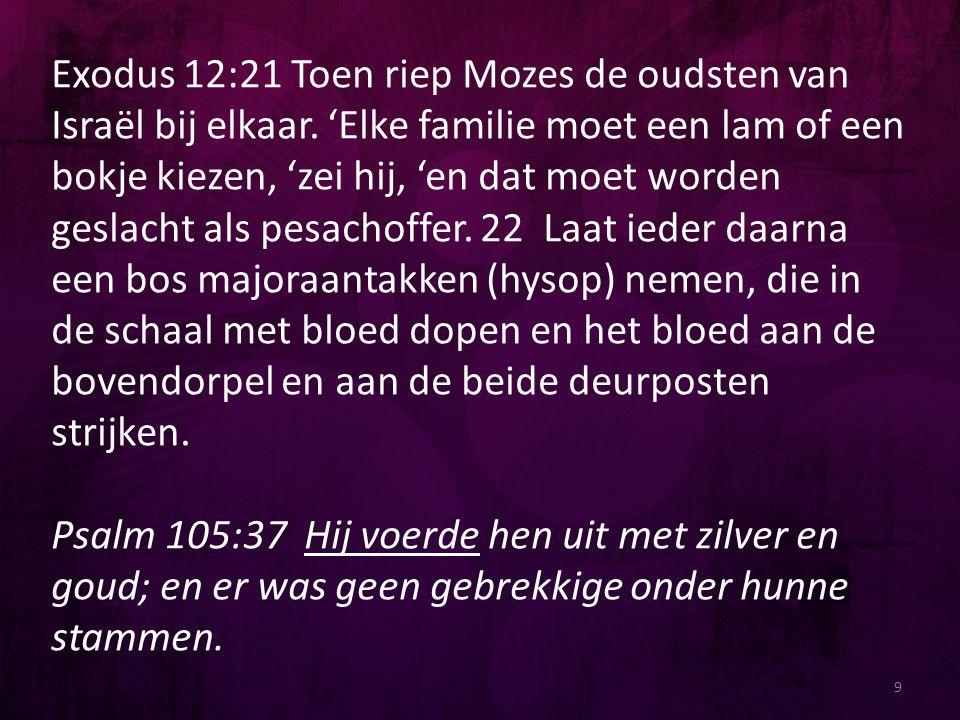 Exodus 12:21 Toen riep Mozes de oudsten van Israël bij elkaar