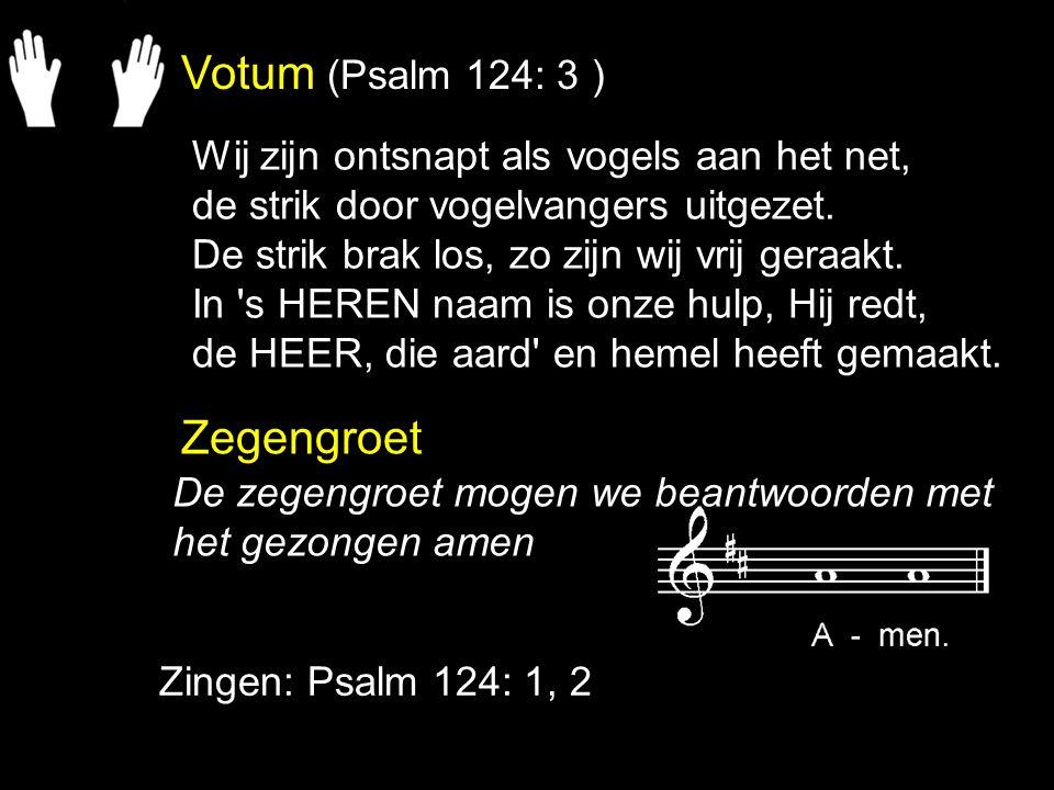 Votum (Psalm 124: 3 ) Zegengroet