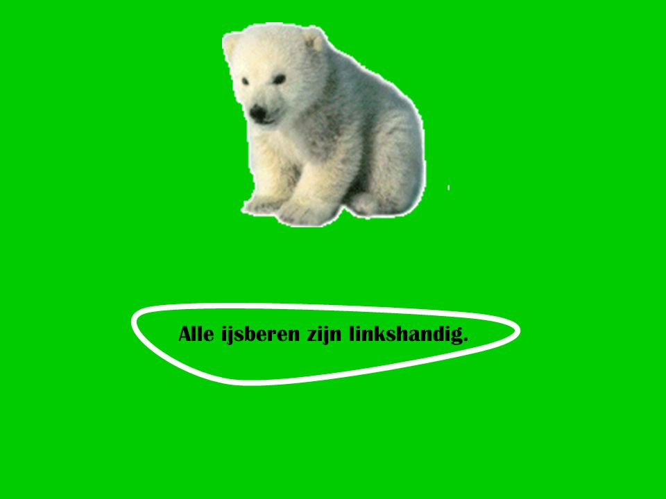 Alle ijsberen zijn linkshandig.