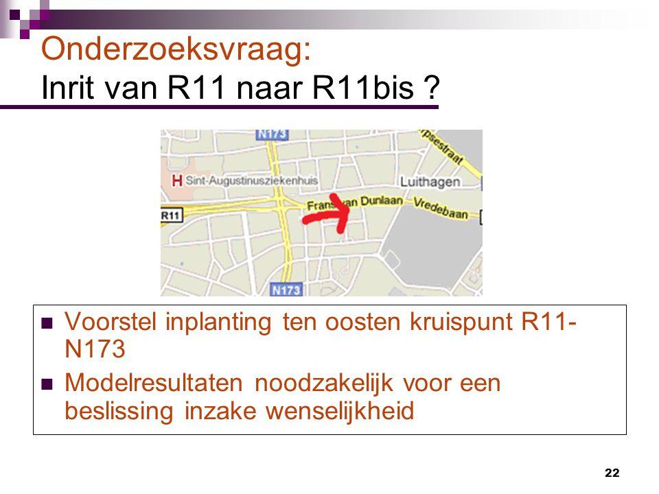 Onderzoeksvraag: Inrit van R11 naar R11bis