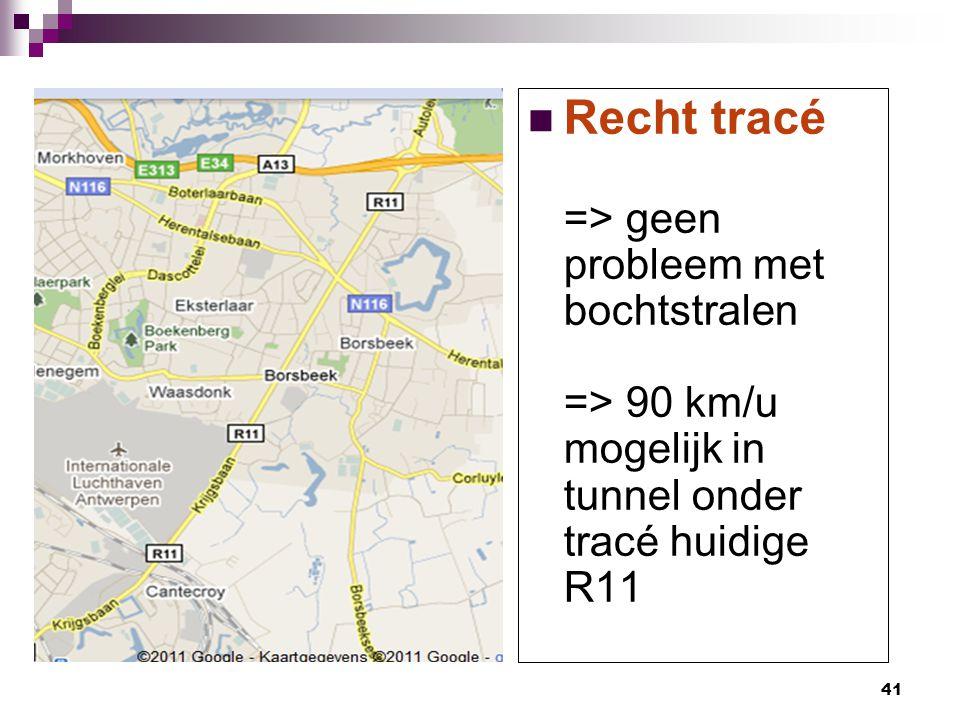 Recht tracé => geen probleem met bochtstralen => 90 km/u mogelijk in tunnel onder tracé huidige R11