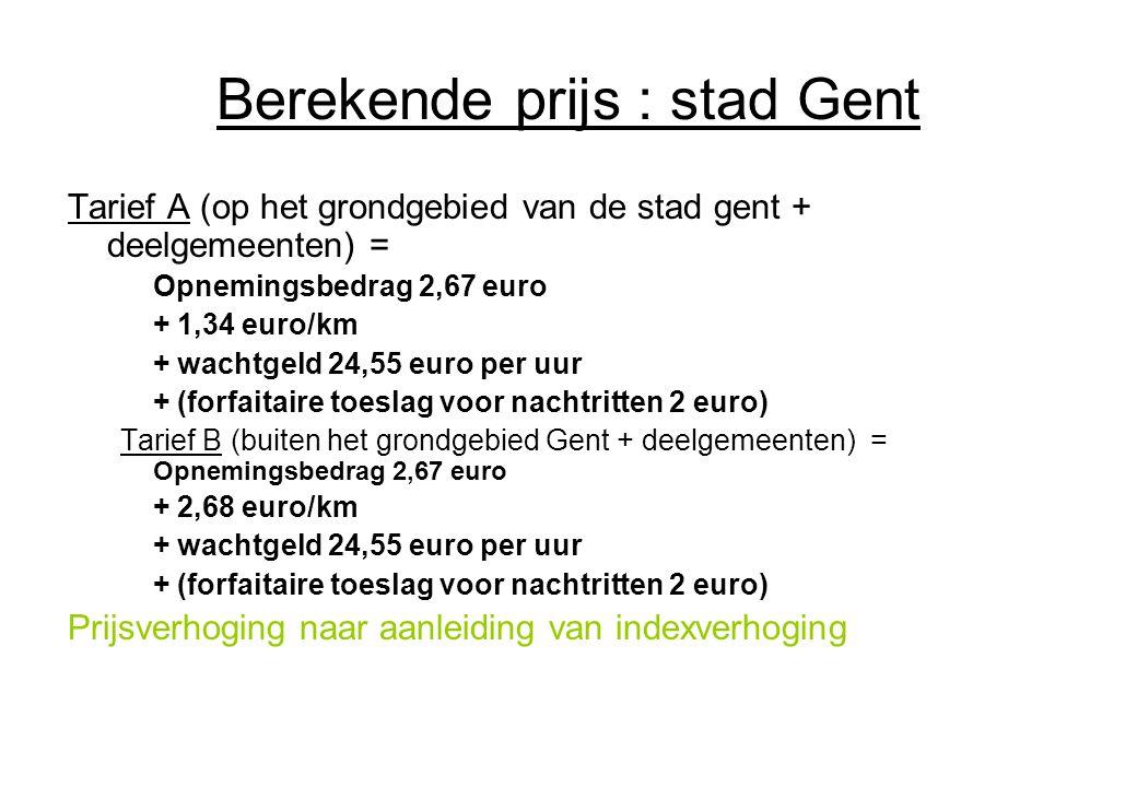 Berekende prijs : stad Gent