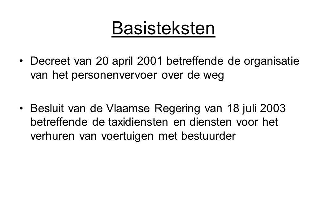 Basisteksten Decreet van 20 april 2001 betreffende de organisatie van het personenvervoer over de weg.