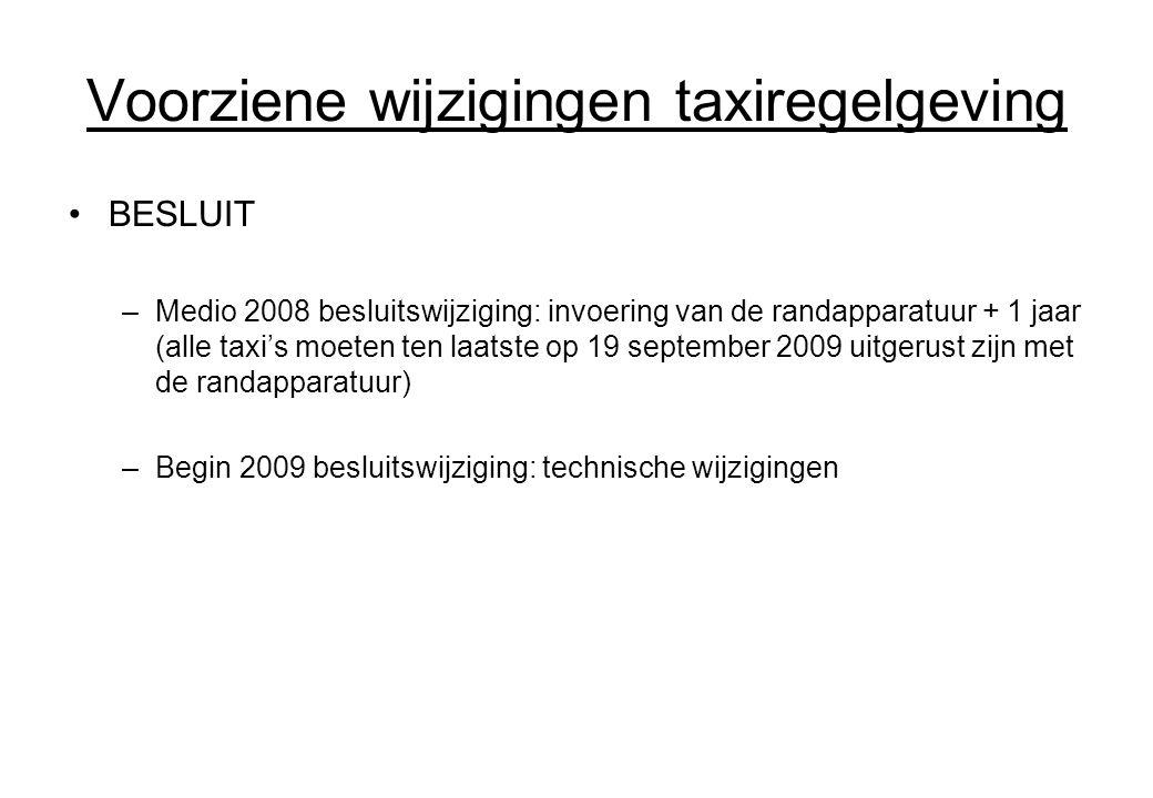 Voorziene wijzigingen taxiregelgeving
