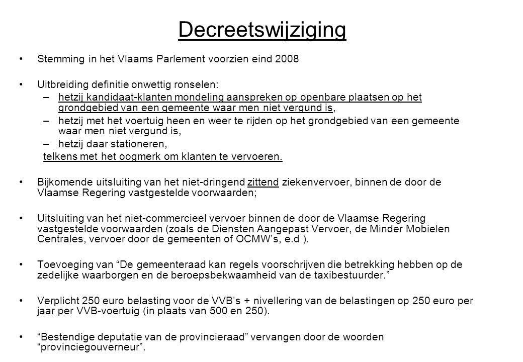 Decreetswijziging Stemming in het Vlaams Parlement voorzien eind 2008