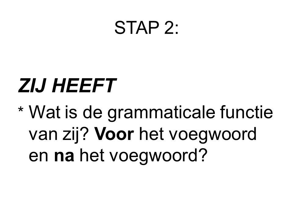 STAP 2: ZIJ HEEFT * Wat is de grammaticale functie van zij Voor het voegwoord en na het voegwoord