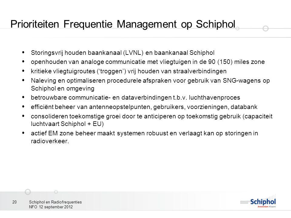 Prioriteiten Frequentie Management op Schiphol