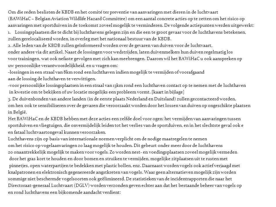 Om die reden beslisten de KBDB en het comité ter preventie van aanvaringen met dieren in de luchtvaart