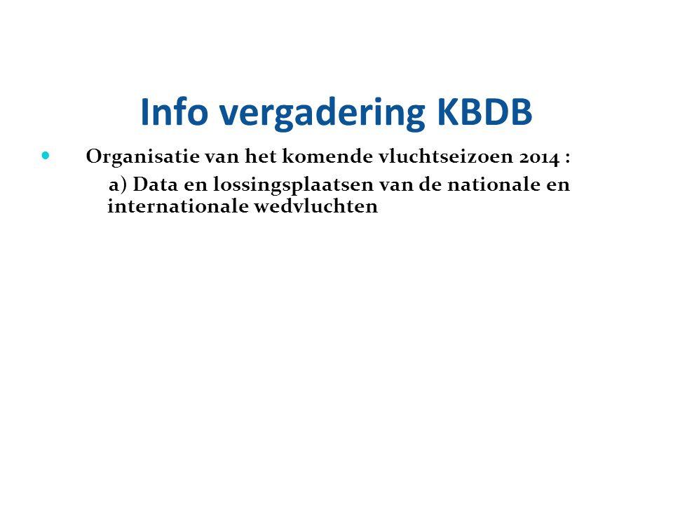 Info vergadering KBDB Organisatie van het komende vluchtseizoen 2014 :
