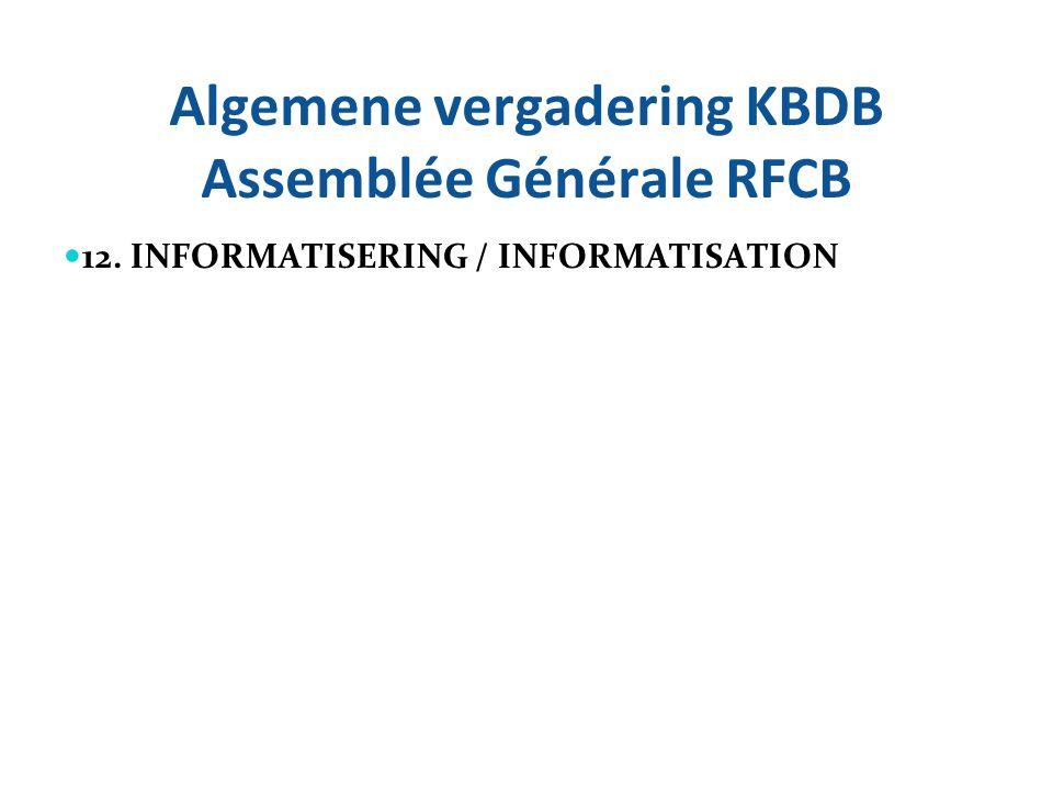 Algemene vergadering KBDB Assemblée Générale RFCB