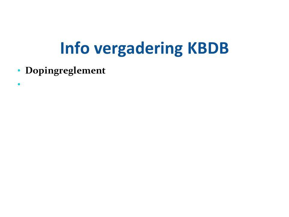 Info vergadering KBDB Dopingreglement 23