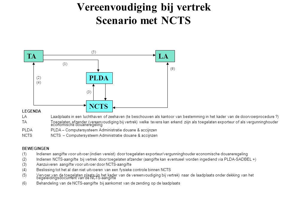Vereenvoudiging bij vertrek Scenario met NCTS