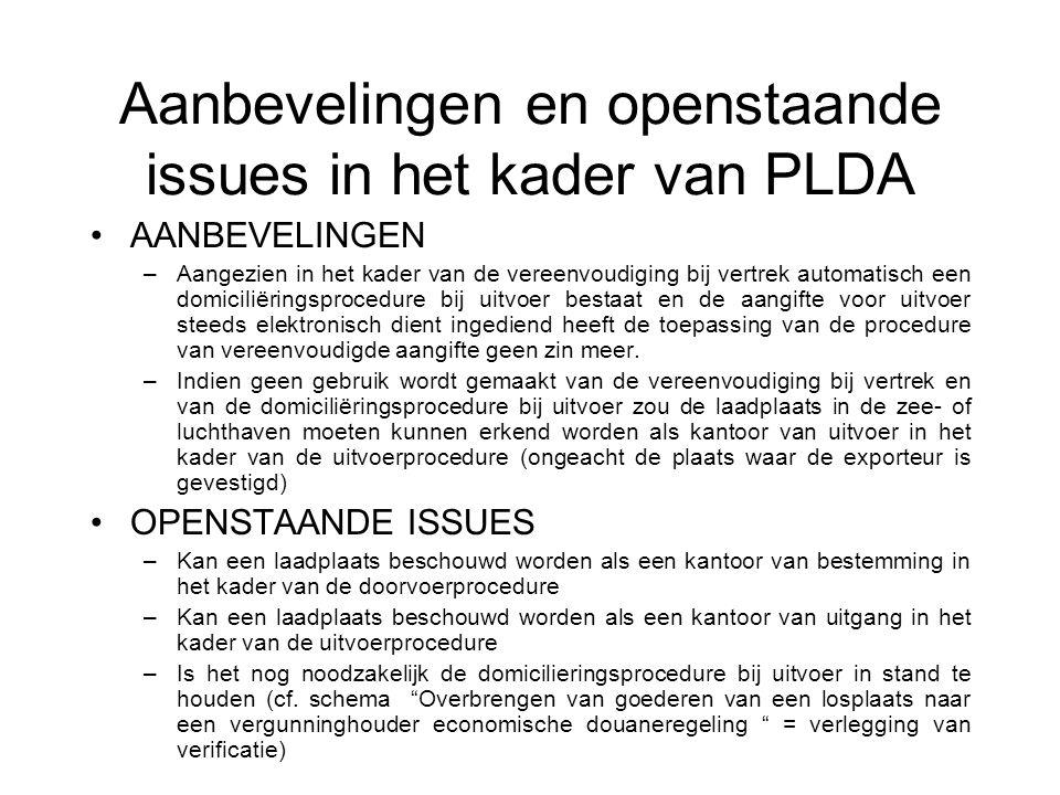 Aanbevelingen en openstaande issues in het kader van PLDA