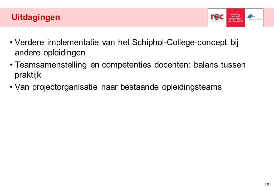 Uitdagingen Verdere implementatie van het Schiphol-College-concept bij andere opleidingen.