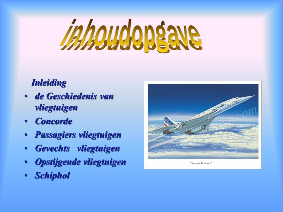 inhoudopgave Inleiding de Geschiedenis van vliegtuigen Concorde