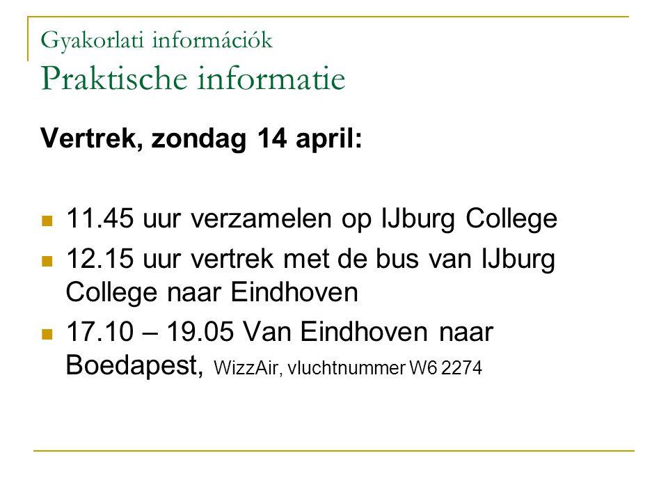 Gyakorlati információk Praktische informatie