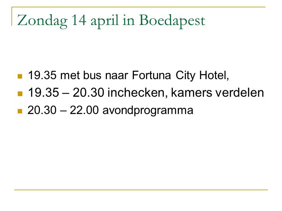 Zondag 14 april in Boedapest