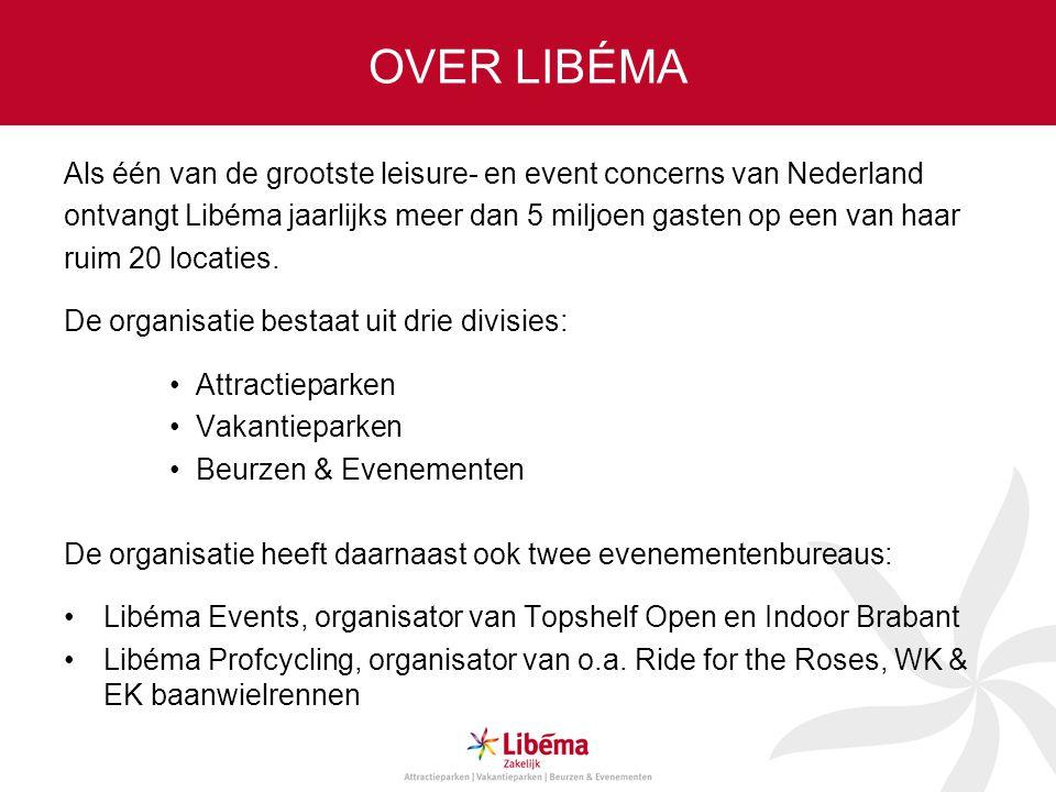 OVER LIBÉMA Als één van de grootste leisure- en event concerns van Nederland. ontvangt Libéma jaarlijks meer dan 5 miljoen gasten op een van haar.