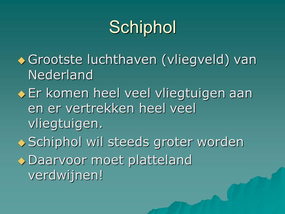 Schiphol Grootste luchthaven (vliegveld) van Nederland