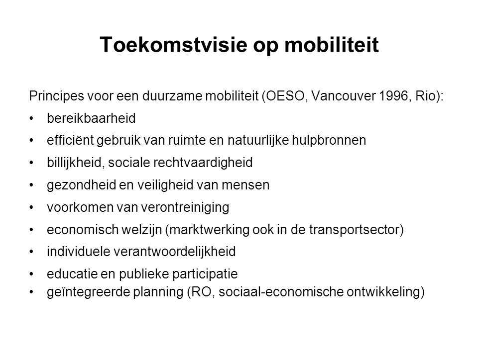 Toekomstvisie op mobiliteit