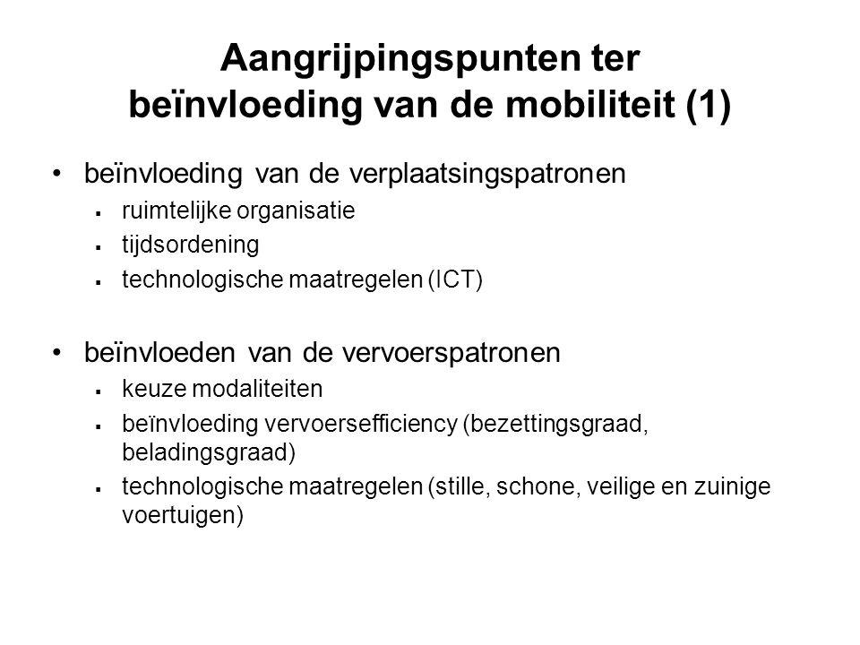 Aangrijpingspunten ter beïnvloeding van de mobiliteit (1)