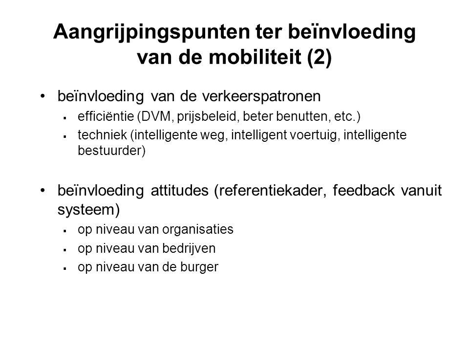 Aangrijpingspunten ter beïnvloeding van de mobiliteit (2)