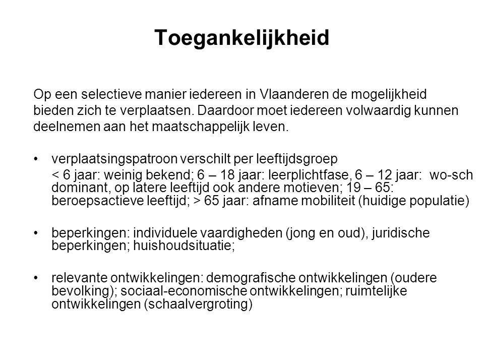 Toegankelijkheid Op een selectieve manier iedereen in Vlaanderen de mogelijkheid.