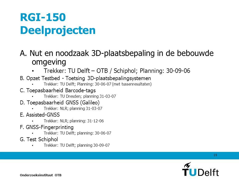 RGI-150 Deelprojecten A. Nut en noodzaak 3D-plaatsbepaling in de bebouwde omgeving. Trekker: TU Delft – OTB / Schiphol; Planning: 30-09-06.